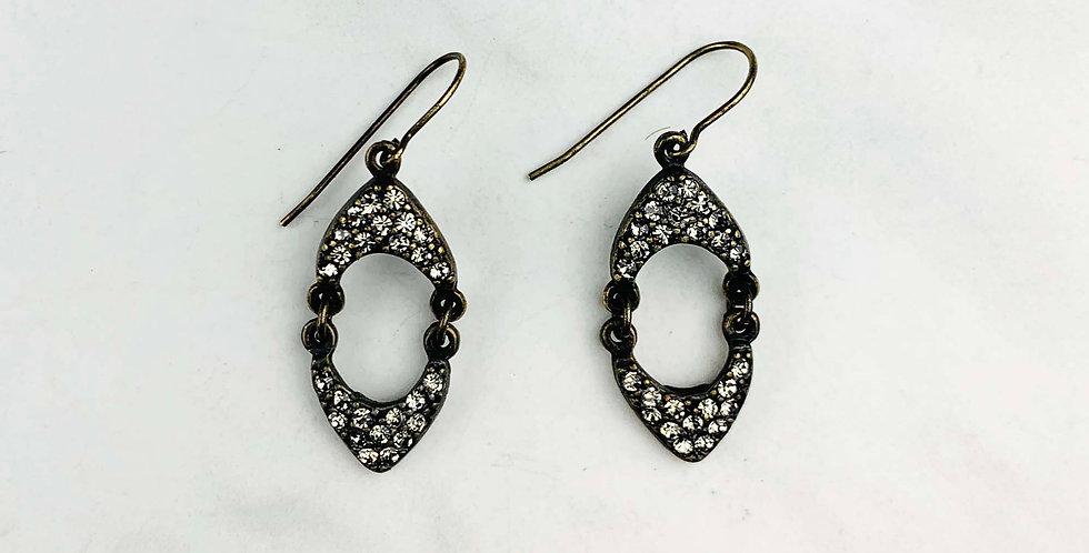 Double Crown Black Diamond Earrings