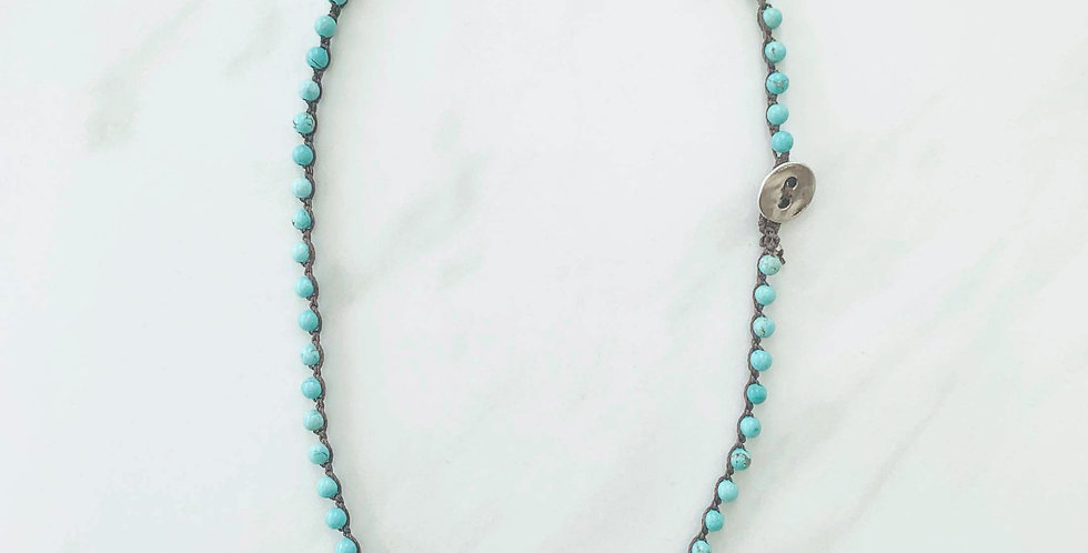 Turquoise Crocheted Necklace 16""
