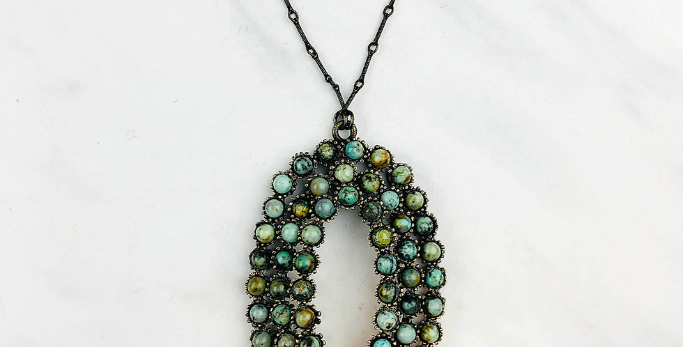 Large Three-Tier African Turquoise Necklace
