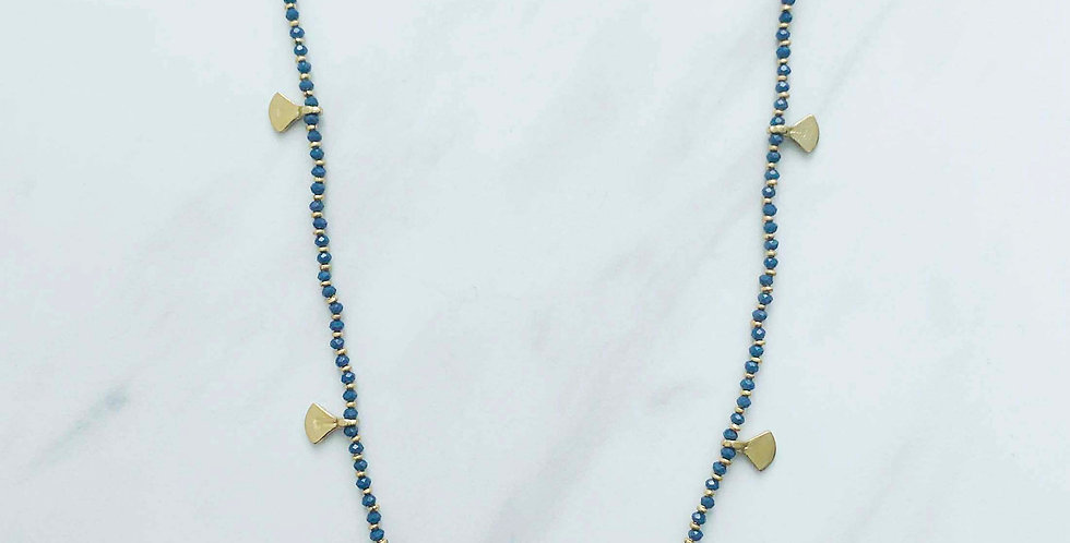 Beaded Fan Necklace - Indigo