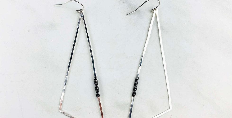 Geometric Triangle Earrings - Sterling Silver