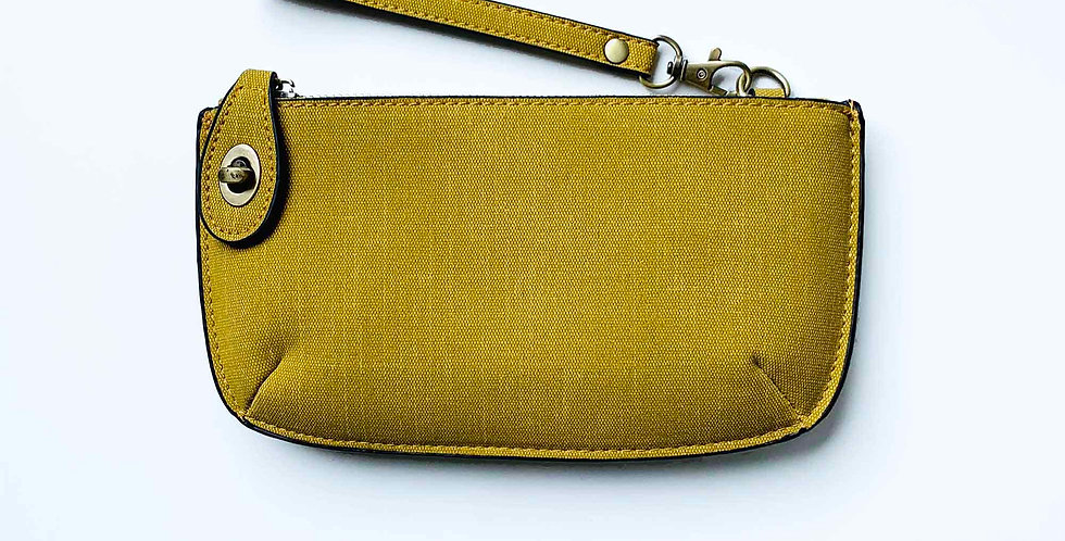 Crossbody Wristlet Clutch - Gold Linen