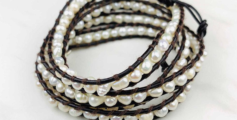 Pearl Wrap Bracelet - Chocolate