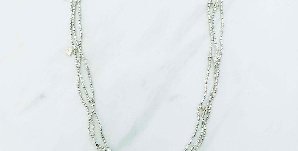 Triple Strand Fan Necklace - Silver