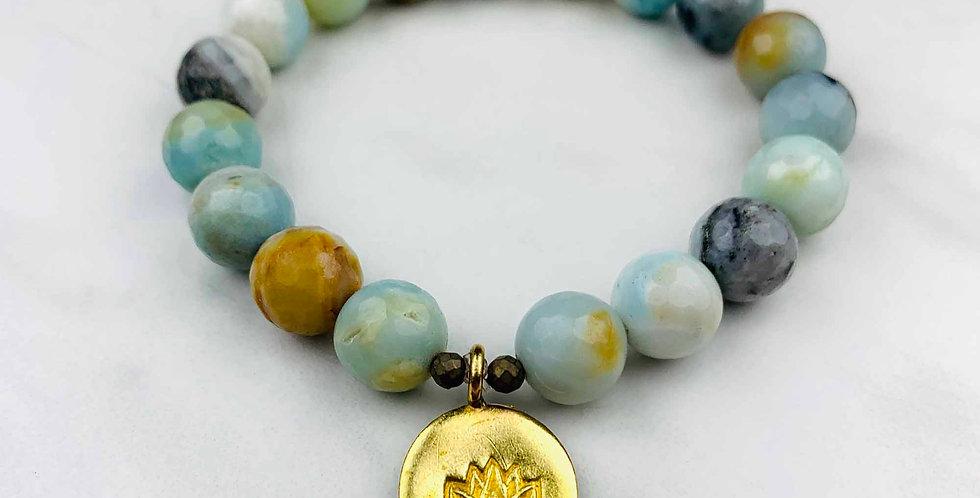 Amazonite Bracelet with Lotus Coin