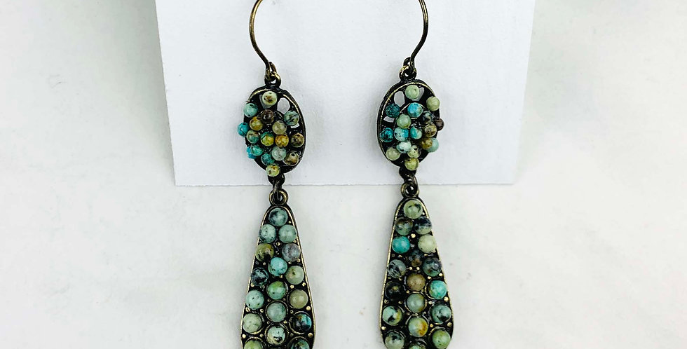 Double Drop African Turquoise Earrings