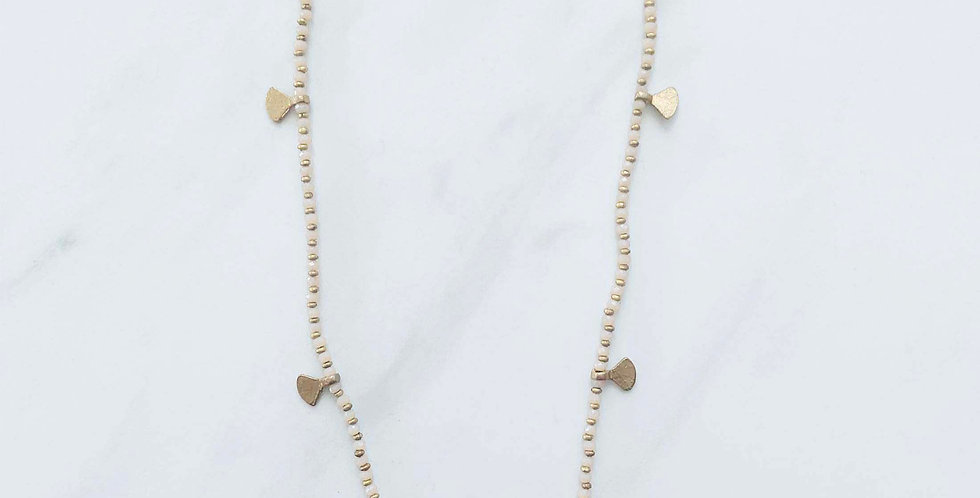 Beaded Fan Necklace - Natural