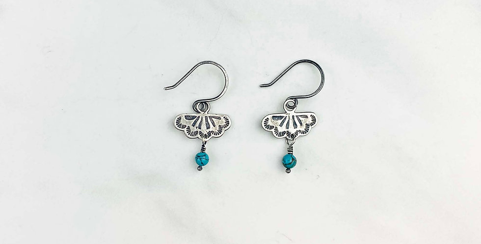 Stamped Silver & Turquoise Earrings