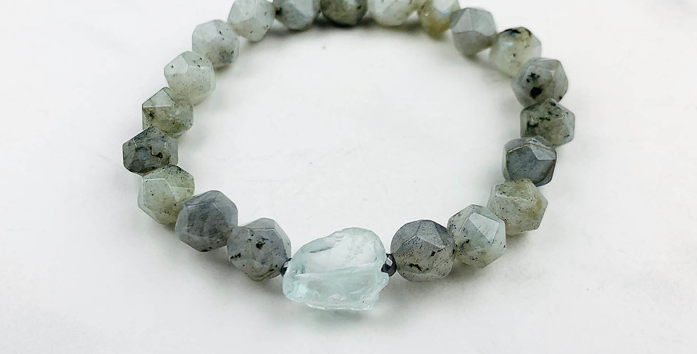Labradorite Bracelet with Recycled Glass