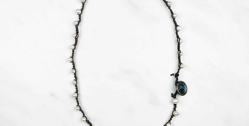 """Freshwater Pearl Crocheted Necklace 16"""""""