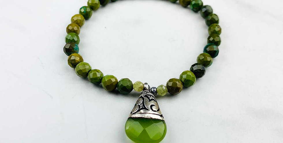 Green Turquoise Bracelet with Charm