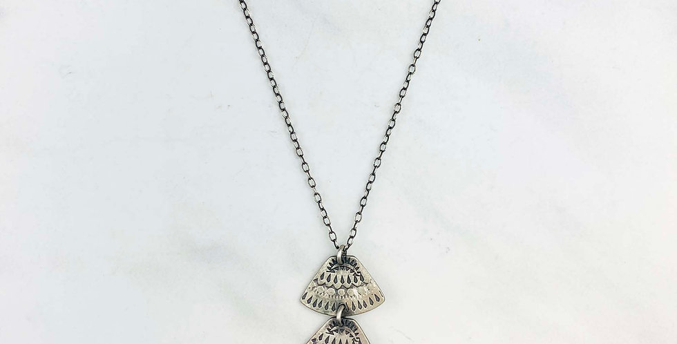 Three-Tier Stamped Silver Necklace