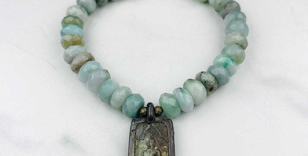Burma Jade Bracelet with Buddha
