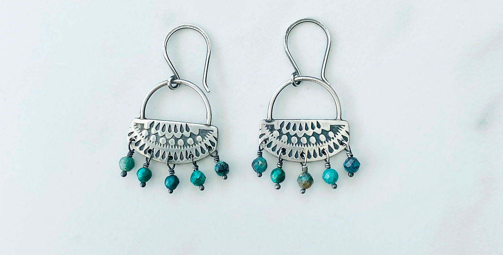 Hand-Stamped Silver & Turquoise Earrings