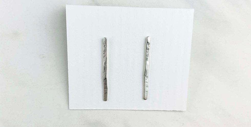 Long Bar Stud Earrings - Sterling Silver