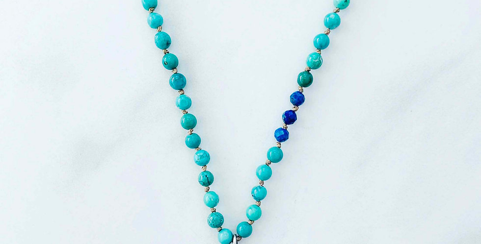 Sterling Silver, Turquoise & Lapis Necklace