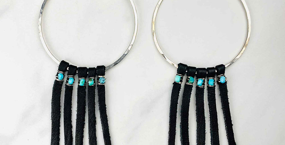 Turquoise & Leather Hoop Earrings