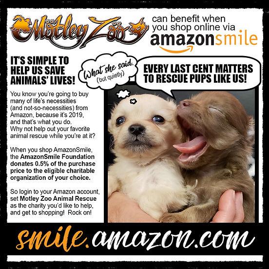 Motley Zoo Animal Rescue can benefit when you shop via smile.amazon.com!