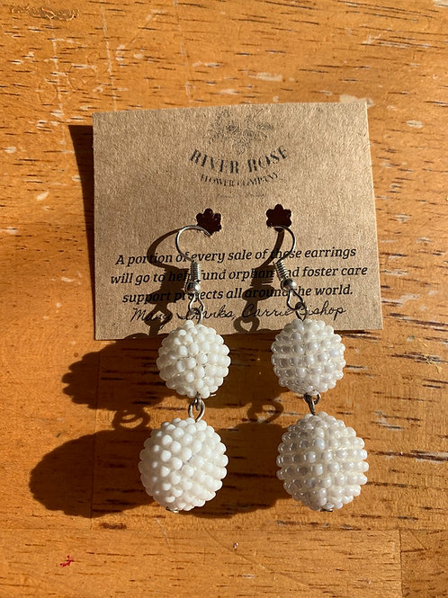 White Double Ball Earrings