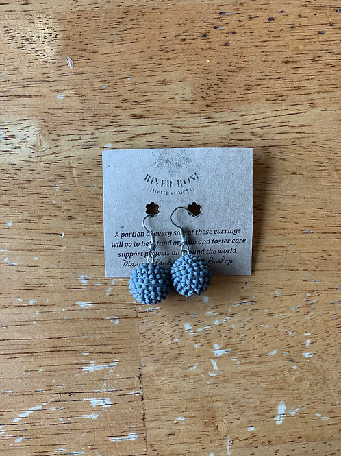 Light Grey Single Ball Earrings