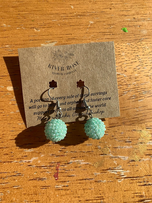 Mint Single Ball Earrings