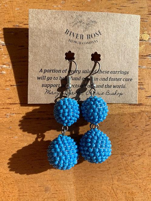 Blue Double Ball Earrings