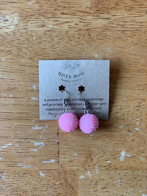 Light Pink Single Ball Earrings