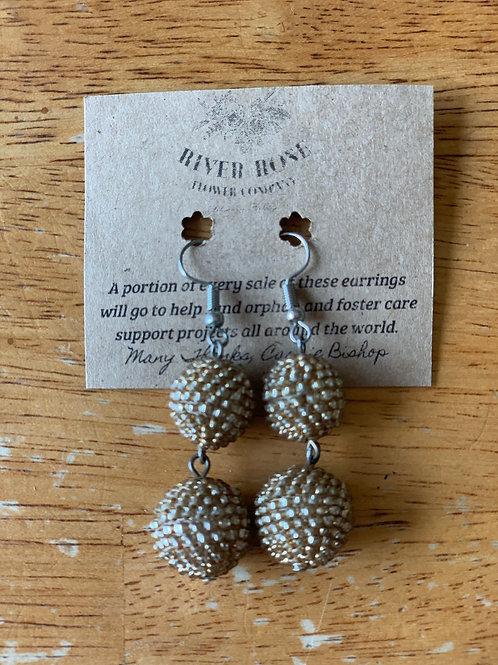 Gold/Brass Double Ball Earrings