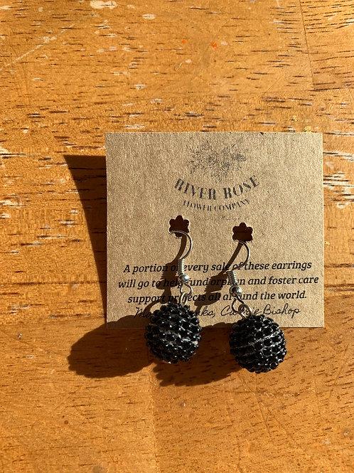 Black Single Ball Earrings