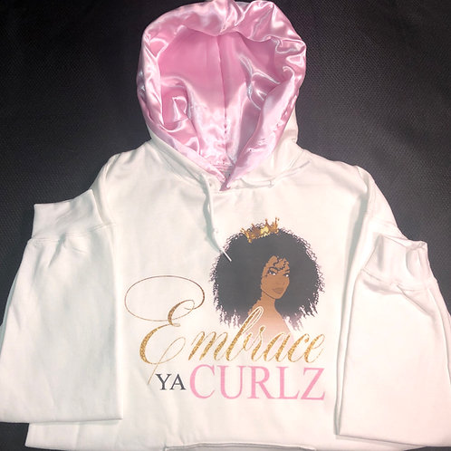 White Satin Lined Hoodie