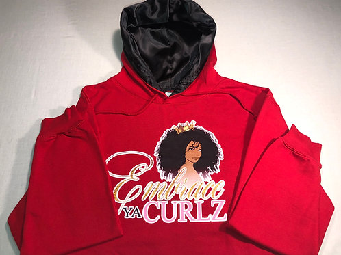 Red Satin Lined Hoodie