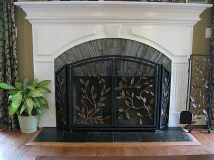Custom iron fireplace screens by local Charlotte Blacksmith