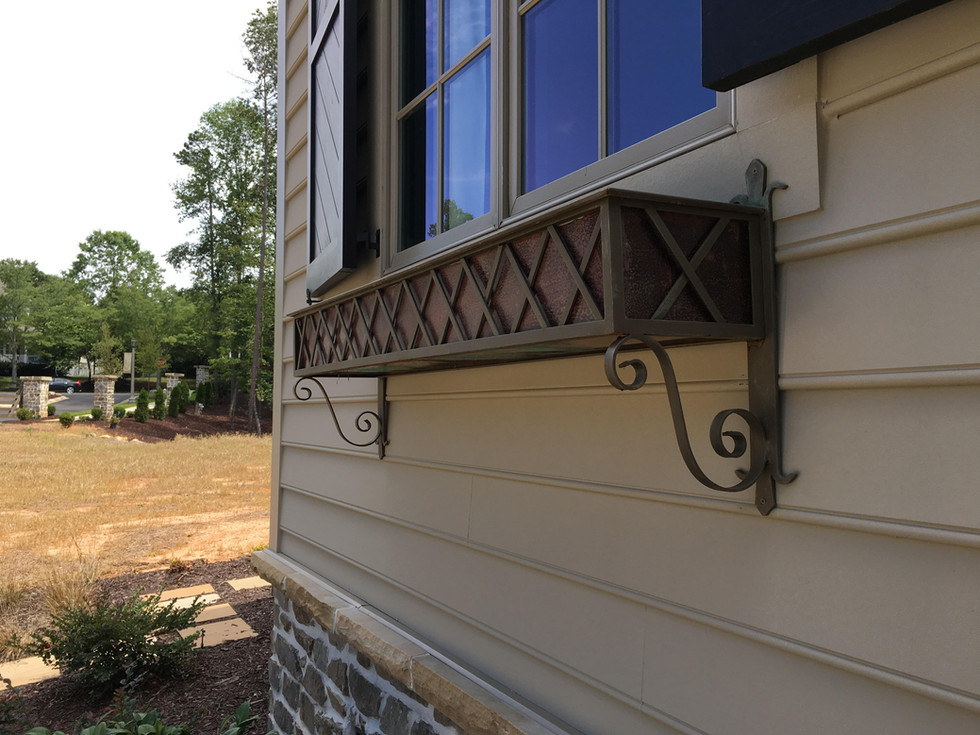 copper and wrought iron windowbox