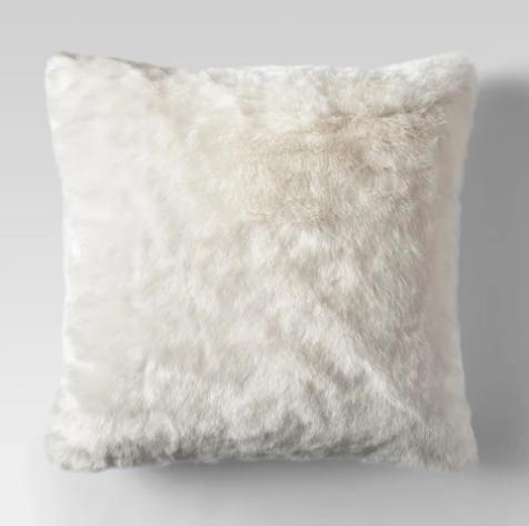 Cream Faux Fur Throw Pillow - Farmhouse Style