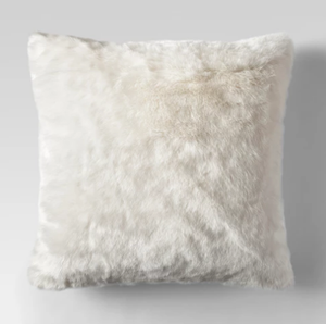 Cream Faux Fur Throw Pillow - Farmhouse Style