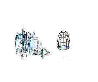 'Please' NYC Watercolor illustration_edi