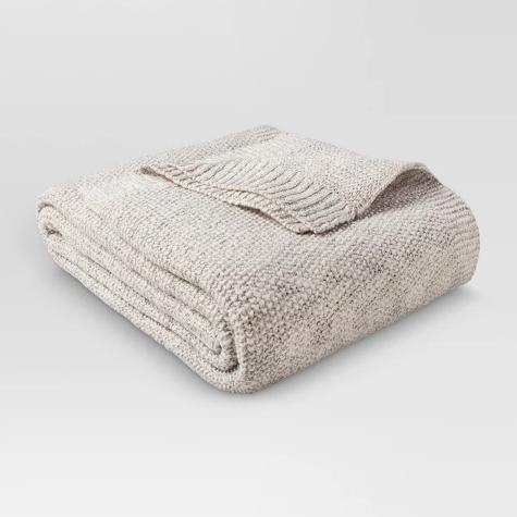 Cream Sweater Knit Throw Blanket