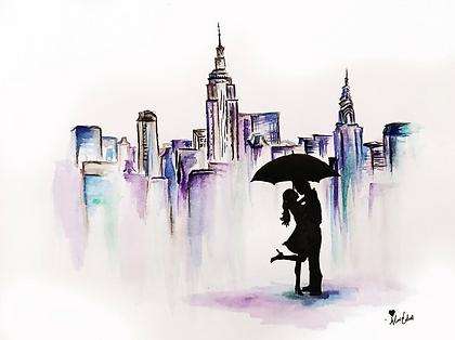 'The Couple I Saw in the Street' Watercolor Illustration By Alanna Cahill