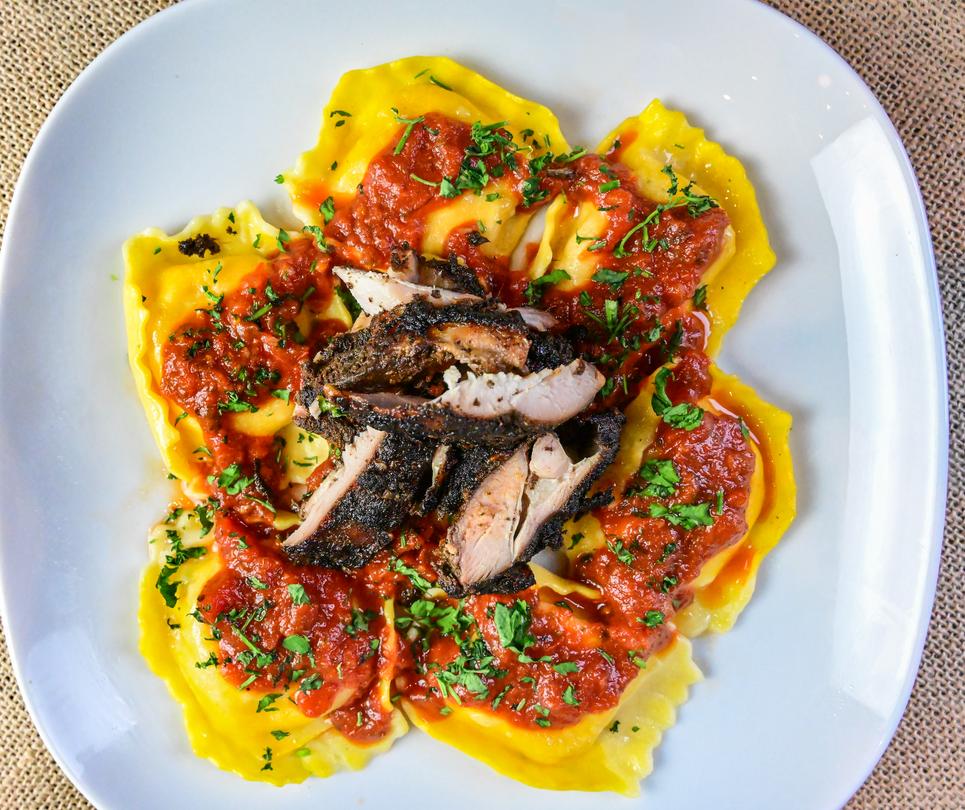 Jerk Chicken Lobster Ravioli