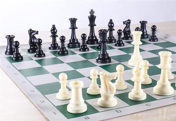 Jogo de xadrez Staunton - peças + tabuleiro + 2 damas extra