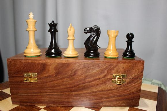 Conjunto luxuoso de madeira - Staunton 10,5 cm + tabuleiro luxo + estojo