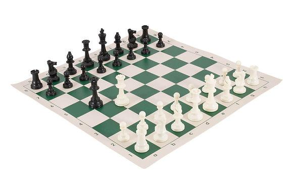 Conjunto profissional de xadrez - peças Staunton 9,6 cm + tabuleiro de silicone