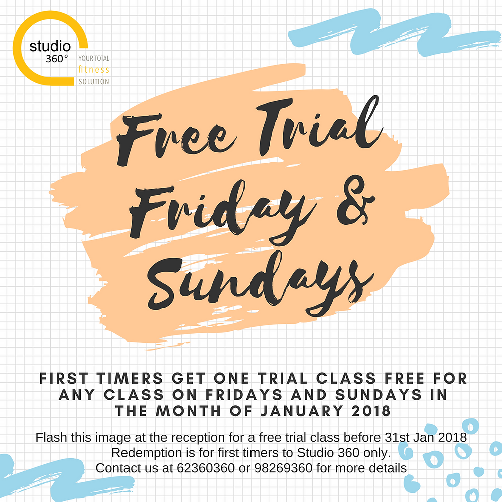 Studio 360 Fitness is all about helping you kickstart your new year every Friday and Sunday for the month of January!  Drop us a email to reserve your free trial or call us to book your class!
