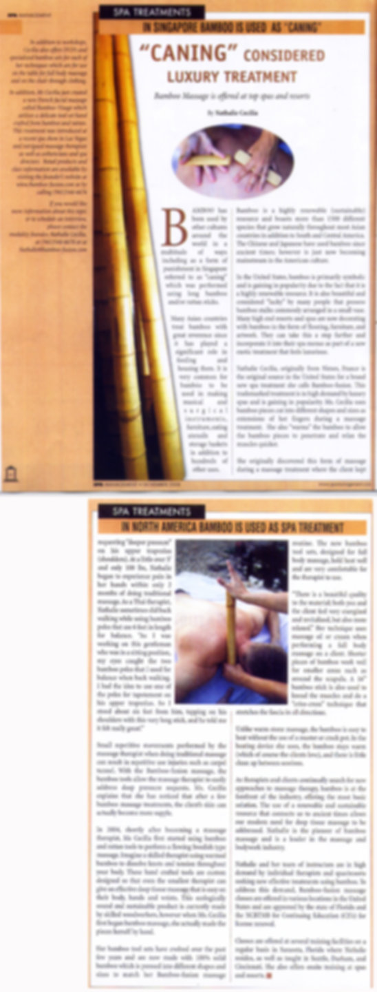 Spa Management Magazine article on Bamboo-Fusion Massage