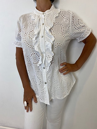 Short White Embroidery Anglaise Frill Blouse
