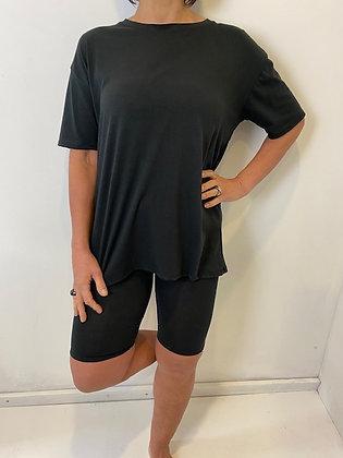 Black t-shirt & cycling short 2 Pc Set