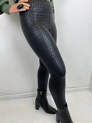 Black mock croc high waist Leggings