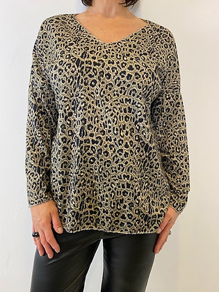 Olive green leopard print v-neck fine knit top