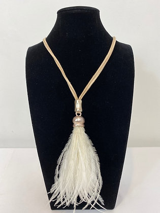 Long faux feather Necklace