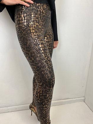 Mock Croc metallic print leggings